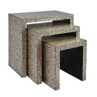 Rosecliff Heights Yeates Basket Weave 3 Piece Nesting Table