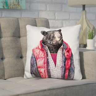 Heslin Bear Throw Pillow by Wrought Studio Purchase