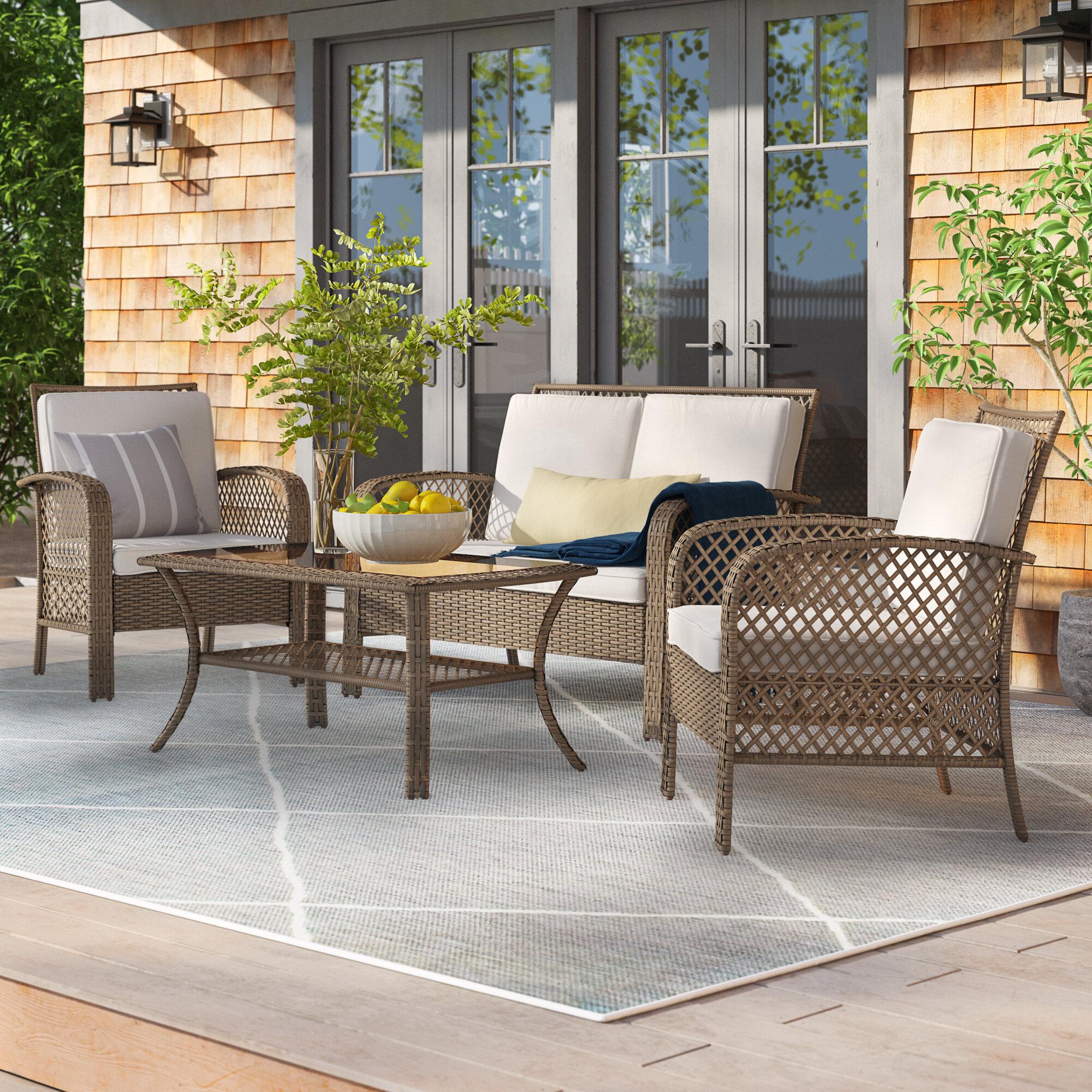 One Allium Way Bromsgrove 4 Piece Rattan Sofa Seating Group With Cushions Reviews Wayfair