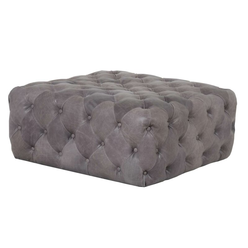 Tufted Leather Ottoman - Shop the Room! Sarah Richardson's Ontario Living Room #tuftedottoman #SarahRichardson