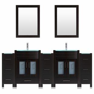 Peterman Modern 84 Double Bathroom Vanity Set with Wood Frame Mirror by Orren Ellis