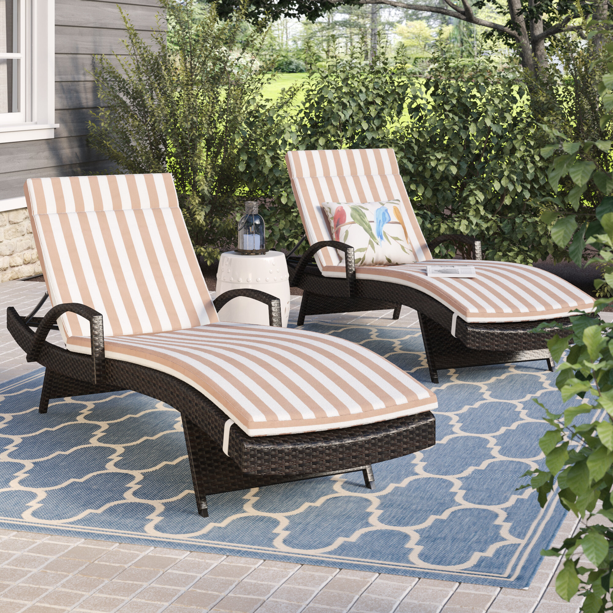 Sol 72 Outdoor Rebello Outdoor Reclining Chaise Lounge With Cushion Reviews Wayfair