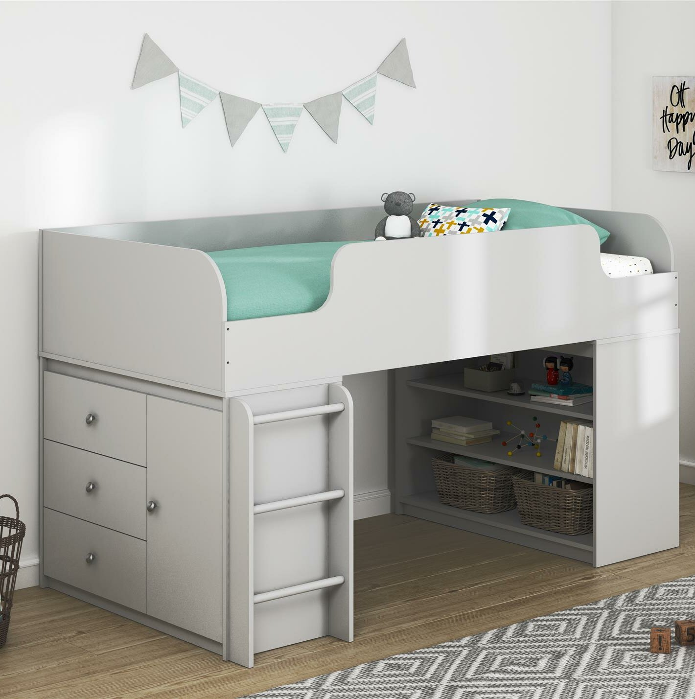 Twin Bed With Storage.Amak Panel Twin Bed With Bookcase And Storage Organizer
