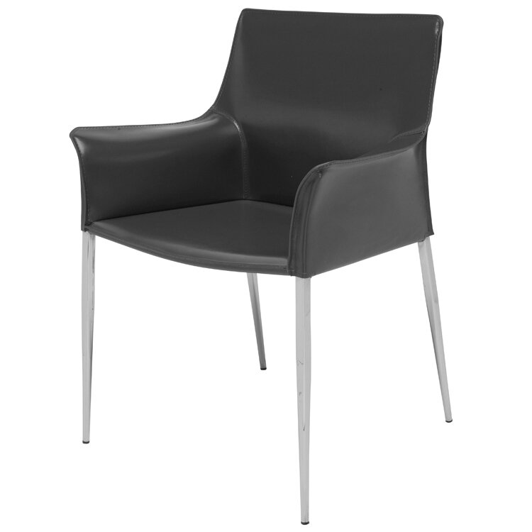 Modern Armed Genuine Leather Dining Chairs Allmodern