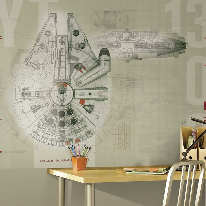 "Star Wars Millennium Falcon 90' x 72"" Wall Mural"