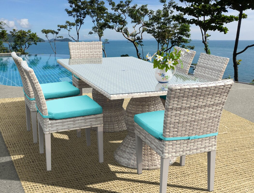 Rosecliff Heights Ansonia Wicker 7 Piece Outdoor Dining Set ...