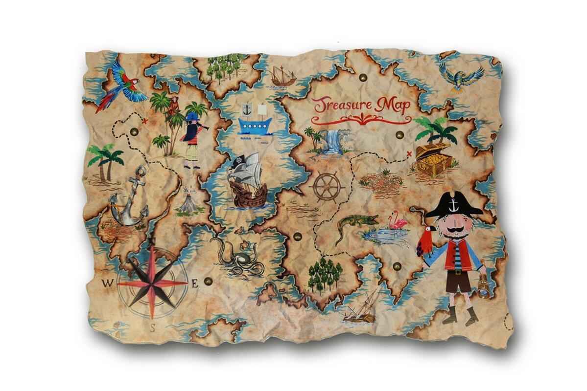 Zoomie Kids Amie Pirates Ahoy Treasure Map Wall Hanging
