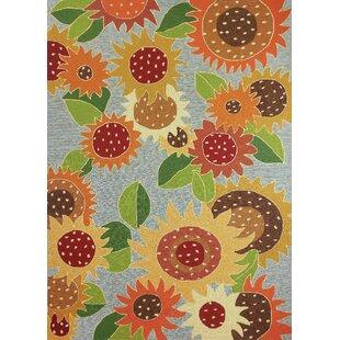 Dorothy Sunflower Impression Hand Hooked Orange Yellow Area Rug