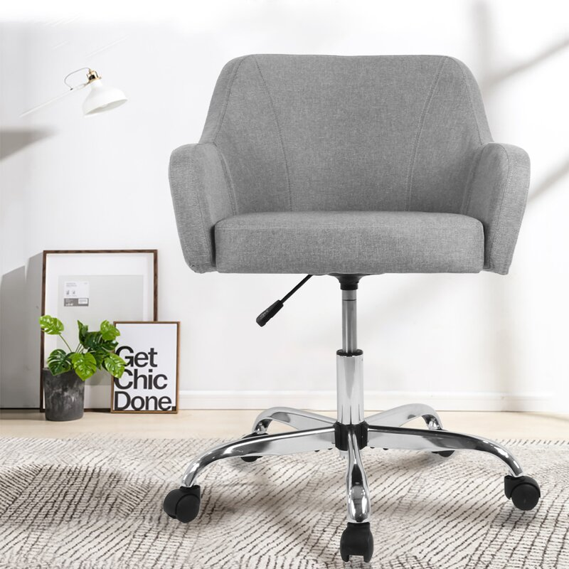 Latitude Run Home Office Chair Computer Task Chair Adjustable Desk Chair With Swivel Casters For Office Leisure Grey Reviews Wayfair