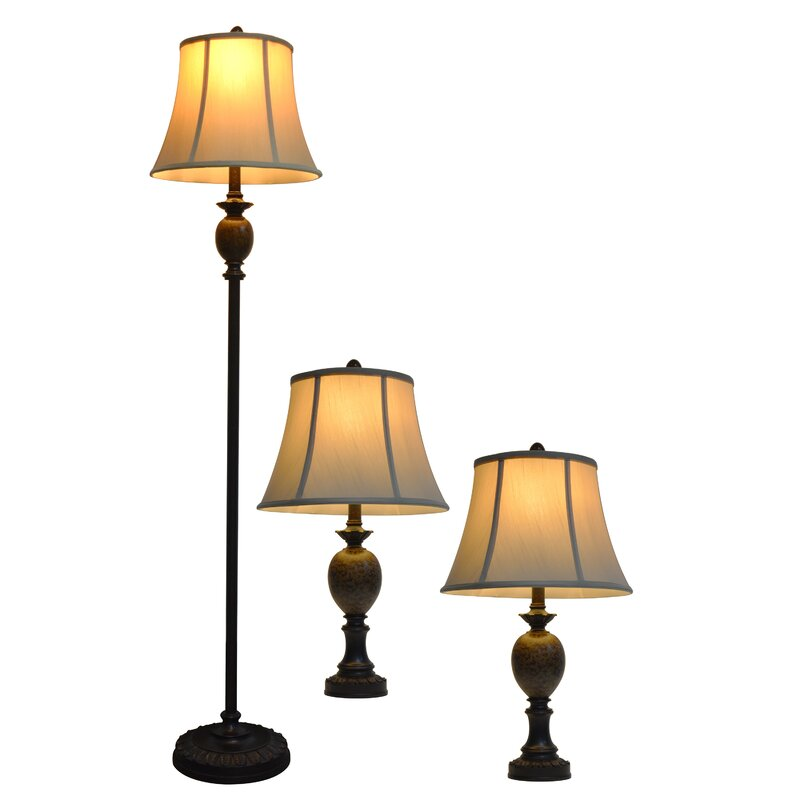 Bulmershe 3 piece table and floor lamp set
