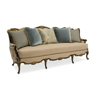 Wyndemere French Dark Wood Sofa Astoria Grand