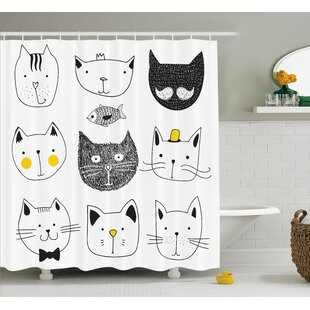 Everly Stylish Cats with Fish Shower Curtain + Hooks