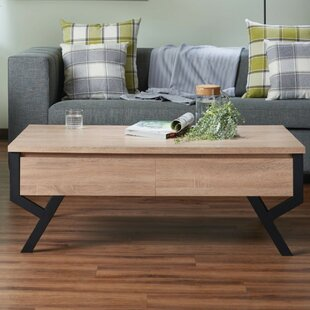Dominika Transitional Rectangular Wooden Coffee Table with Storage by Union Rustic