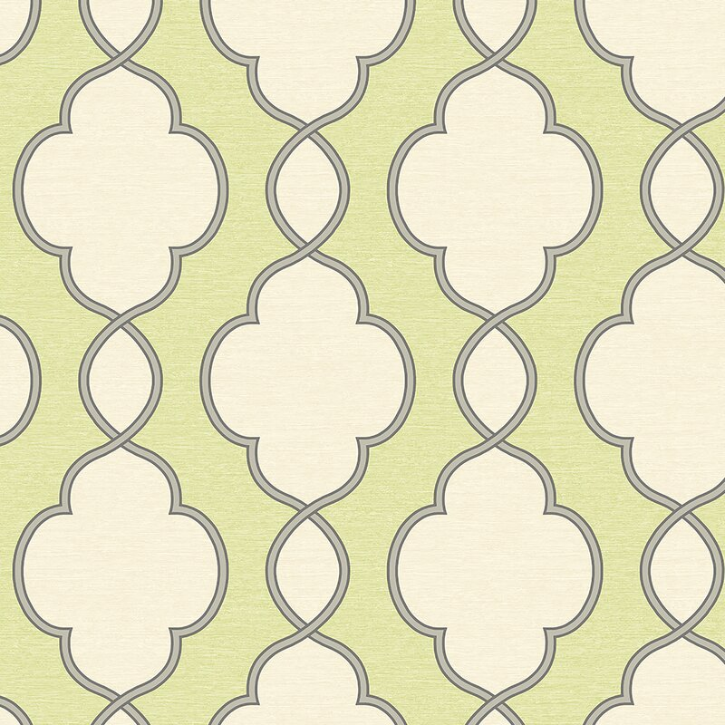 "Crosson Structure Chain Link 33' x 20.5"" Trellis Wallpaper - Shop Drew's Honeymoon House {Guest Bedrooms} #greenwallpaper #trelliswallpaper #PropertyBrothers"