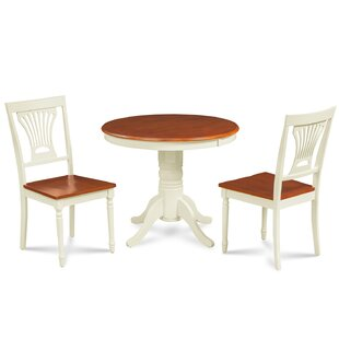 Cedarville Contemporary 3 Piece Solid Wood Dining Set by Alcott Hill No Copoun