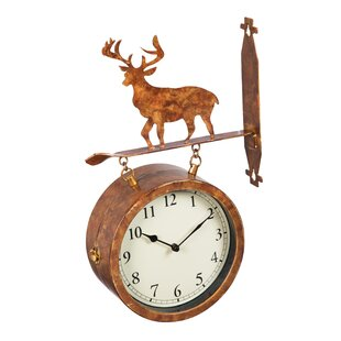 Fressia 2-Sided Outdoor Wall Clock and Thermometer with Deer Icon