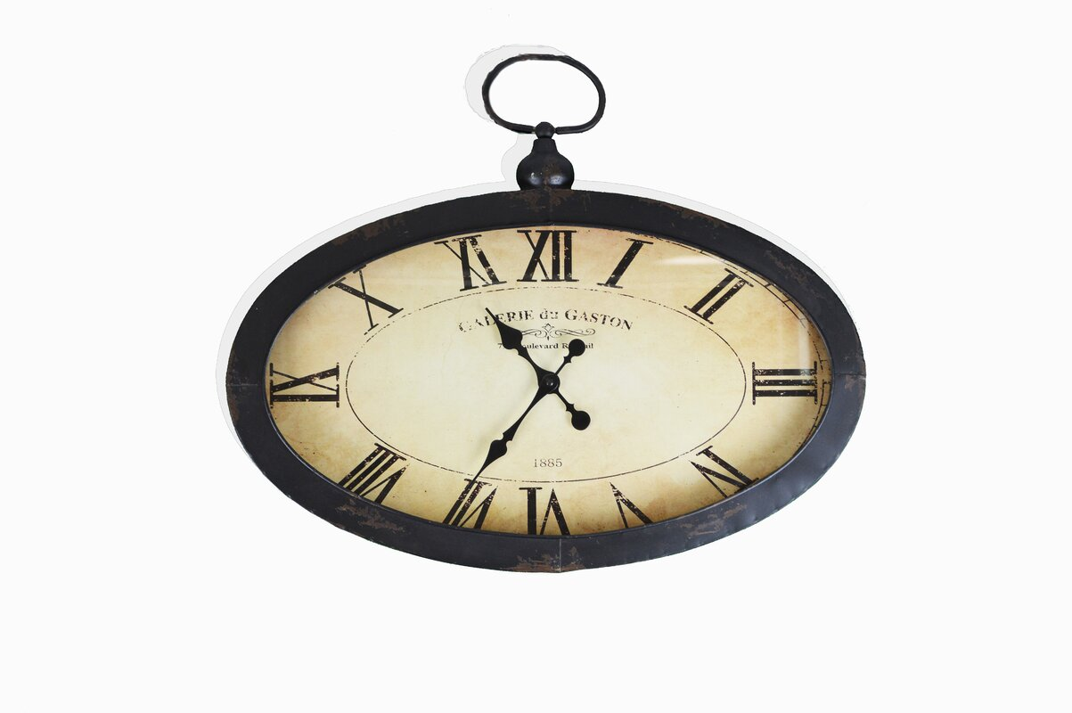 Darby home co elnora oval roman numeral wall clock reviews wayfair elnora oval roman numeral wall clock amipublicfo Gallery