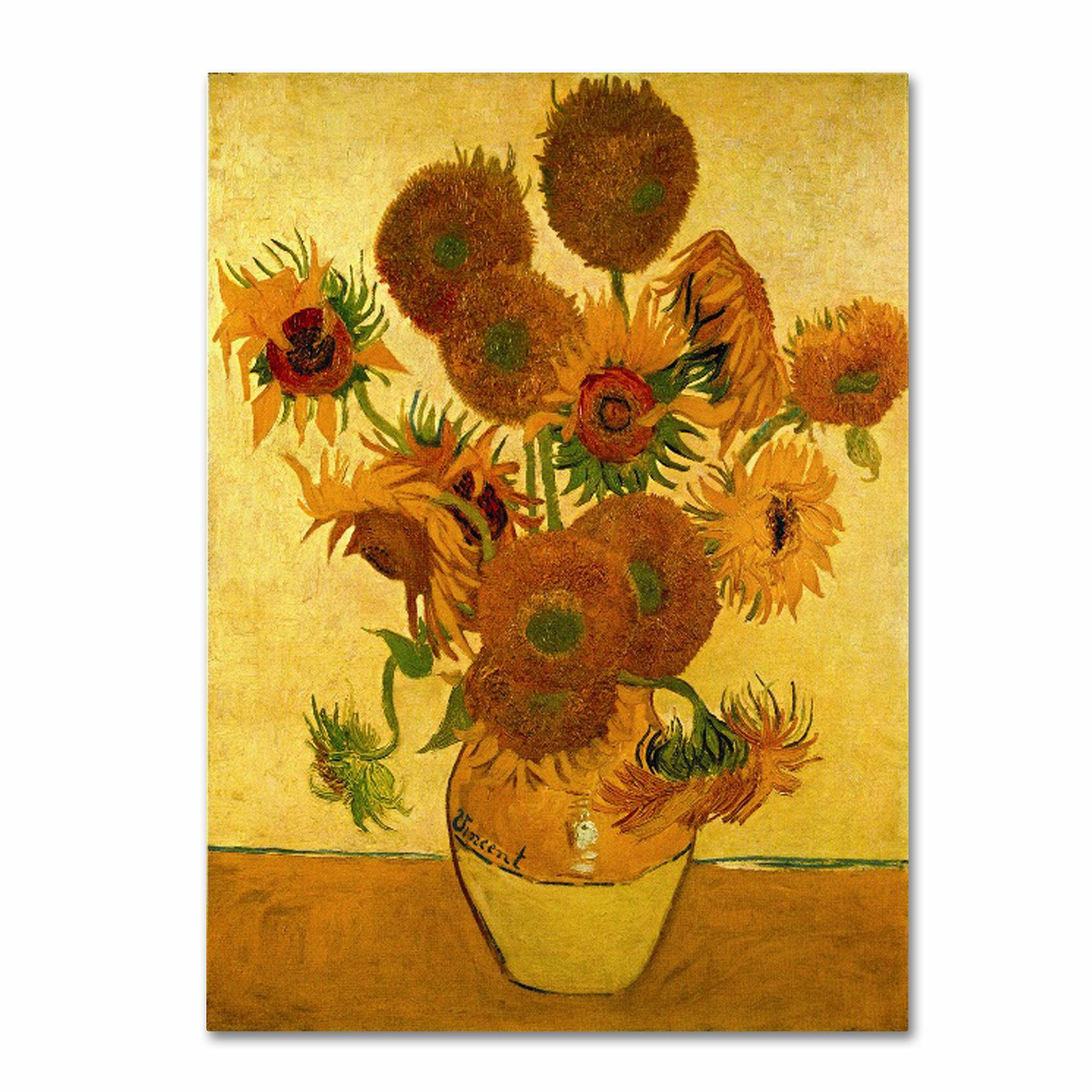 62b0bfd6c37 Fleur De Lis Living  Vase with Sunflowers  by Vincent Van Gogh Painting  Print on Canvas   Reviews
