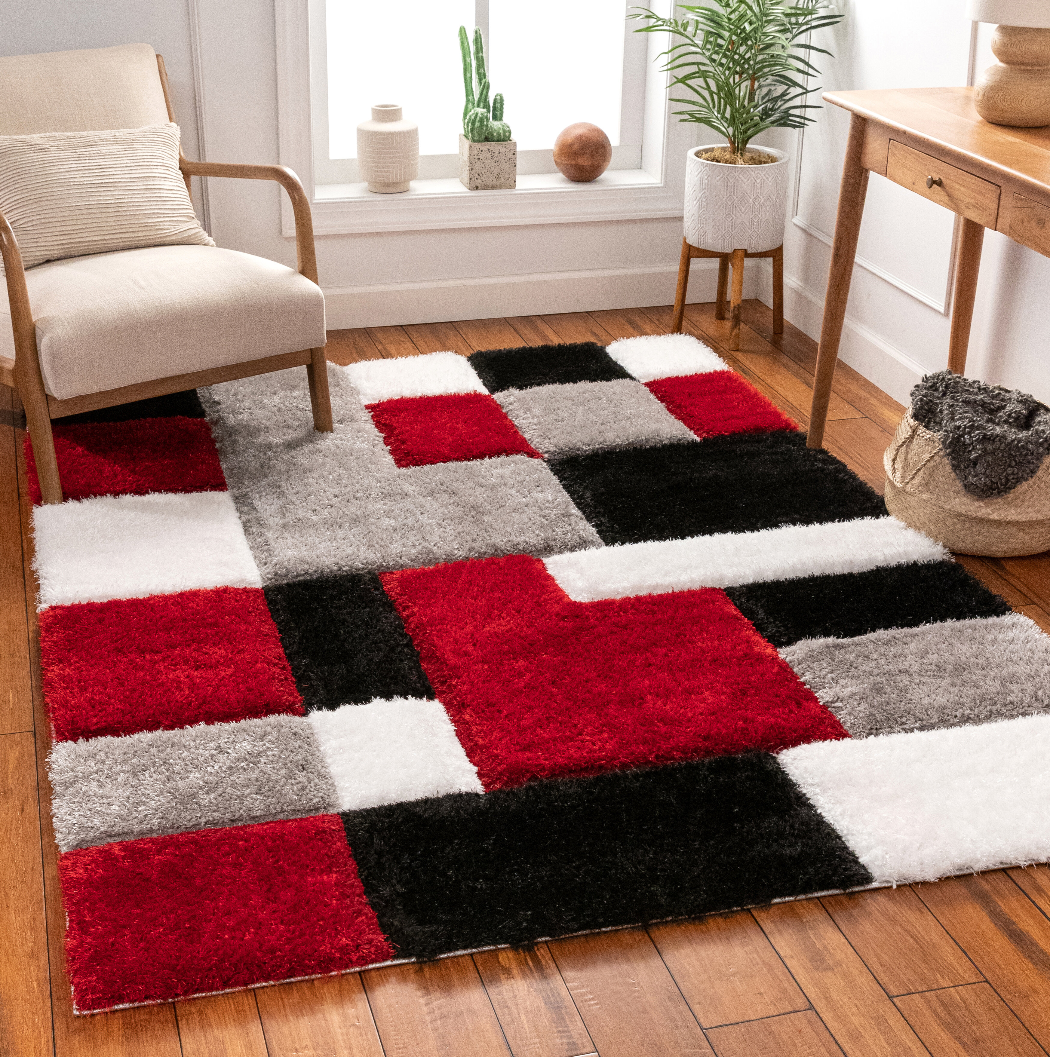 Well Woven San Francisco Shag Red Black Area Rug Reviews Wayfair
