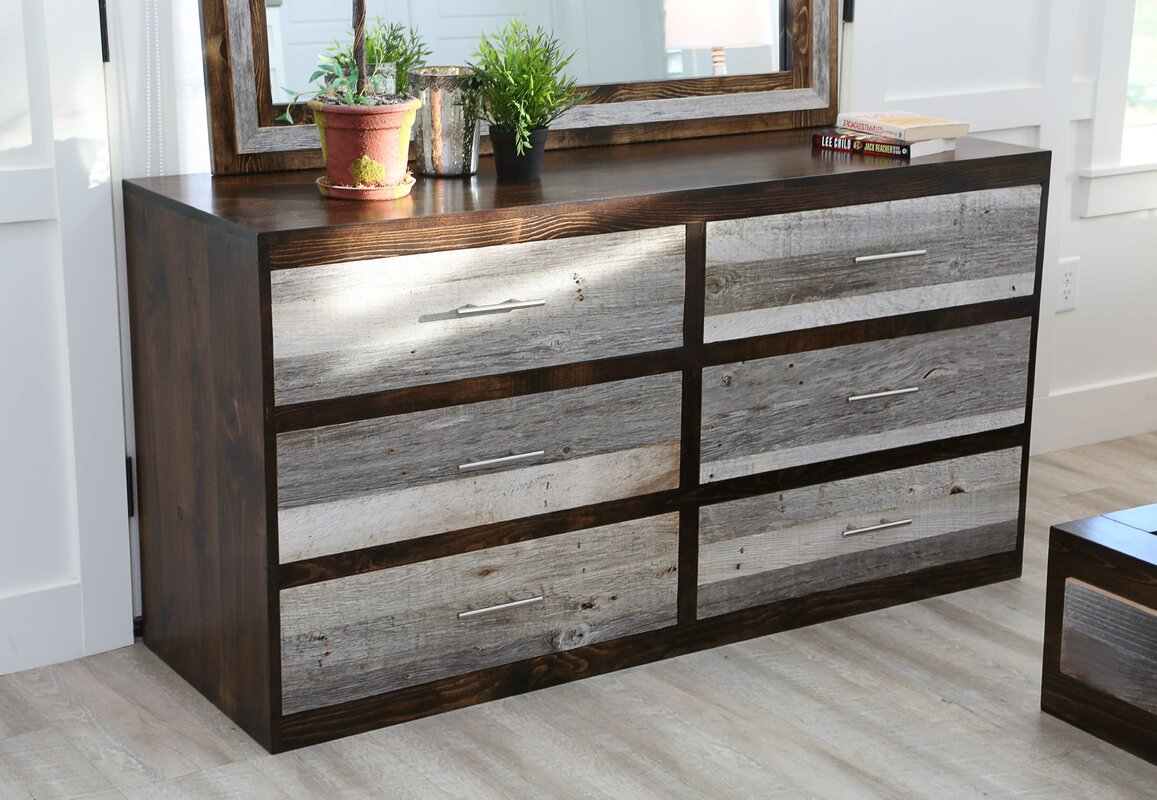 Union Rustic Frese City Loft 6 Drawer Double Dresser with Mirror
