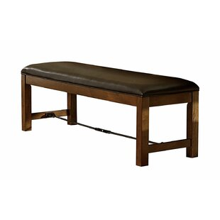 Harriet Wood and Leather Dining Bench by Millwood Pines