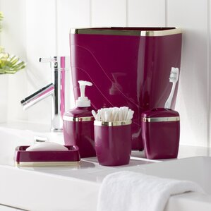 Wayfair Basics Bathroom Accessory Set  of 5 Red Accessories You ll Love