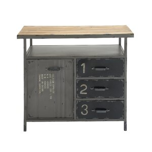 1 Door 3 Drawer Metal and Wood Utility Accent Cabinet