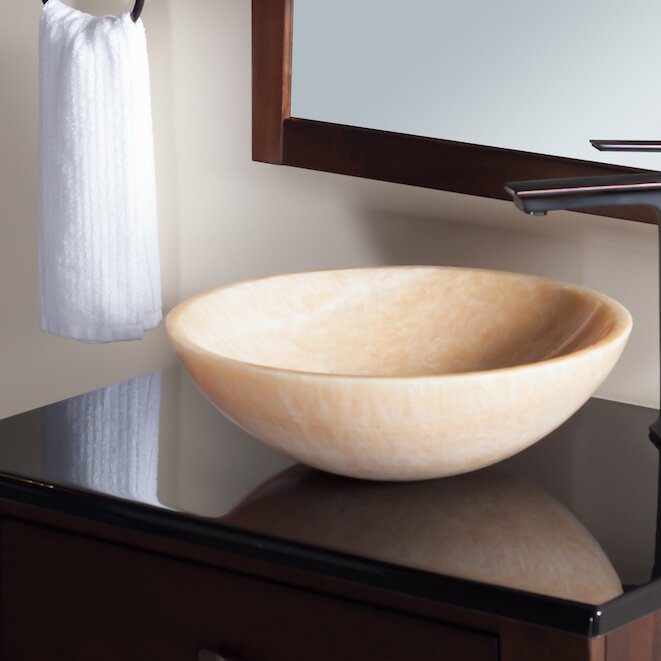 Natural Onyx Circular Vessel Bathroom Sink