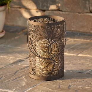 Panama Lantern with Flowing Leaves Pattern and LED Candle by Smart Living