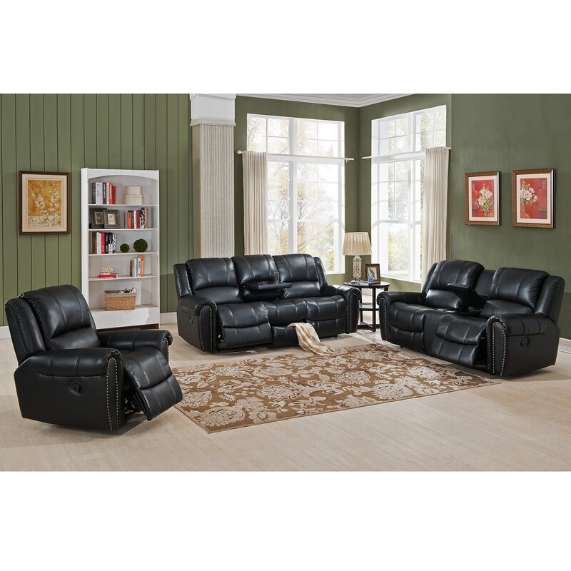 Living Room Sets Houston amax houston 3 piece leather recliner living room set | wayfair