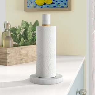 Charlena Wood and Marble Paper Towel Holder