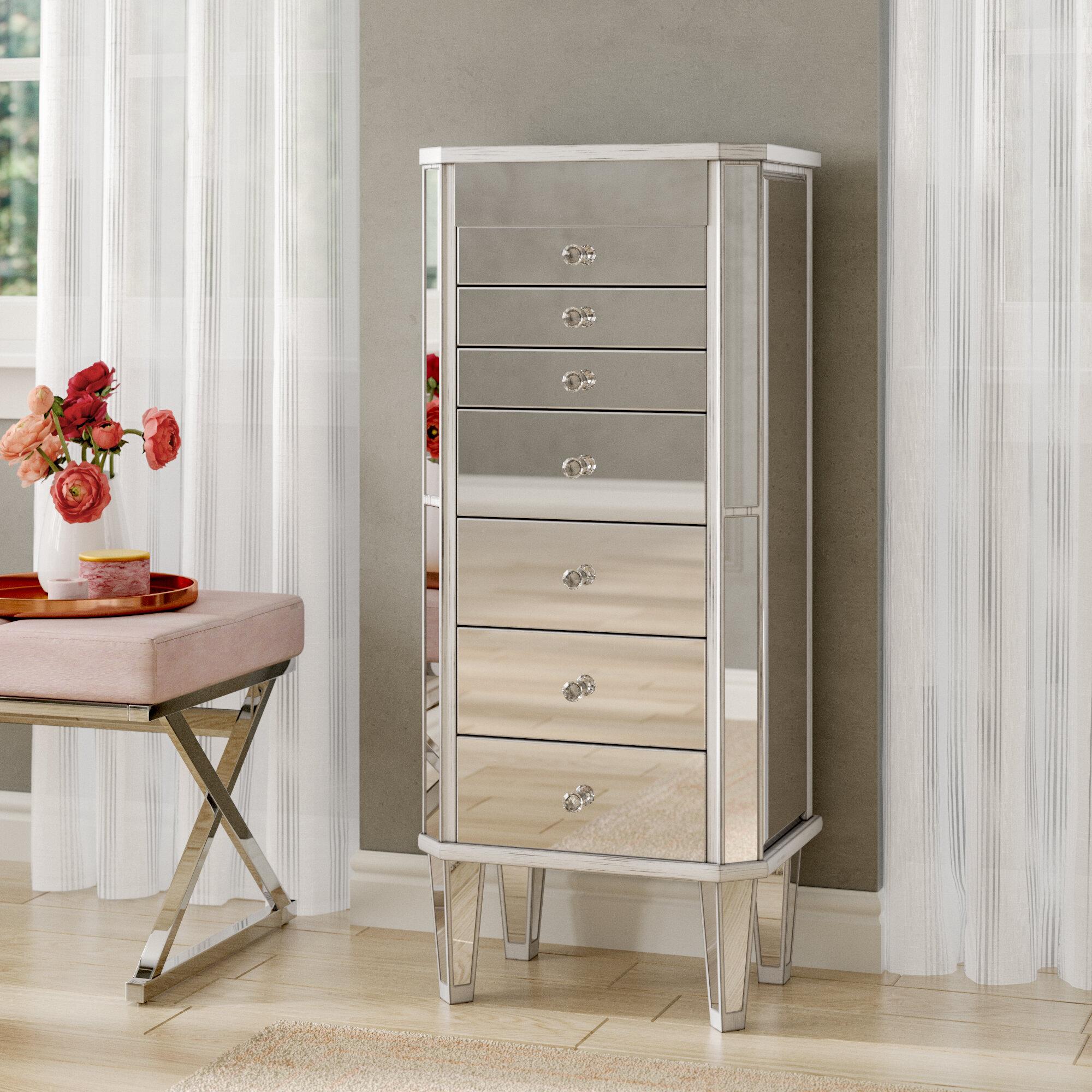 House of hampton ashmore mirrored jewelry armoire reviews wayfair
