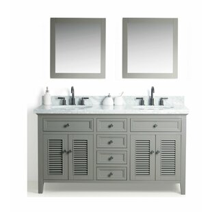Braselton Solid Wood 61 Double Bathroom Vanity Set with Mirror