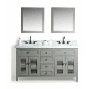 Braselton Solid Wood 61 Double Bathroom Vanity Set with Mirror