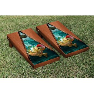 Victory Tailgate Bass Fishing Rosewood Stained Triangle Version Cornhole Game Set