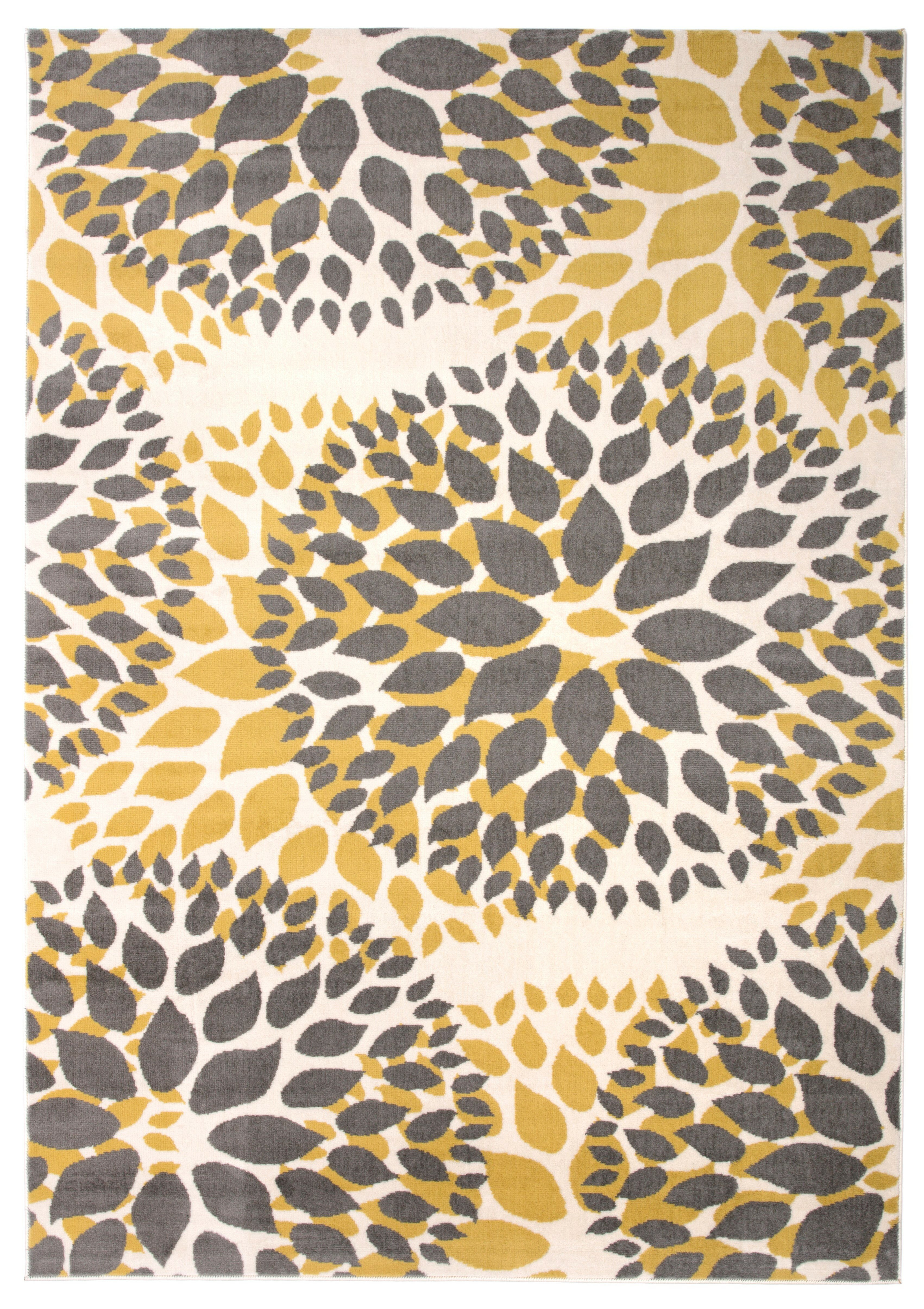 Wrought studio beaudette floral yellow gray area rug reviews wayfair