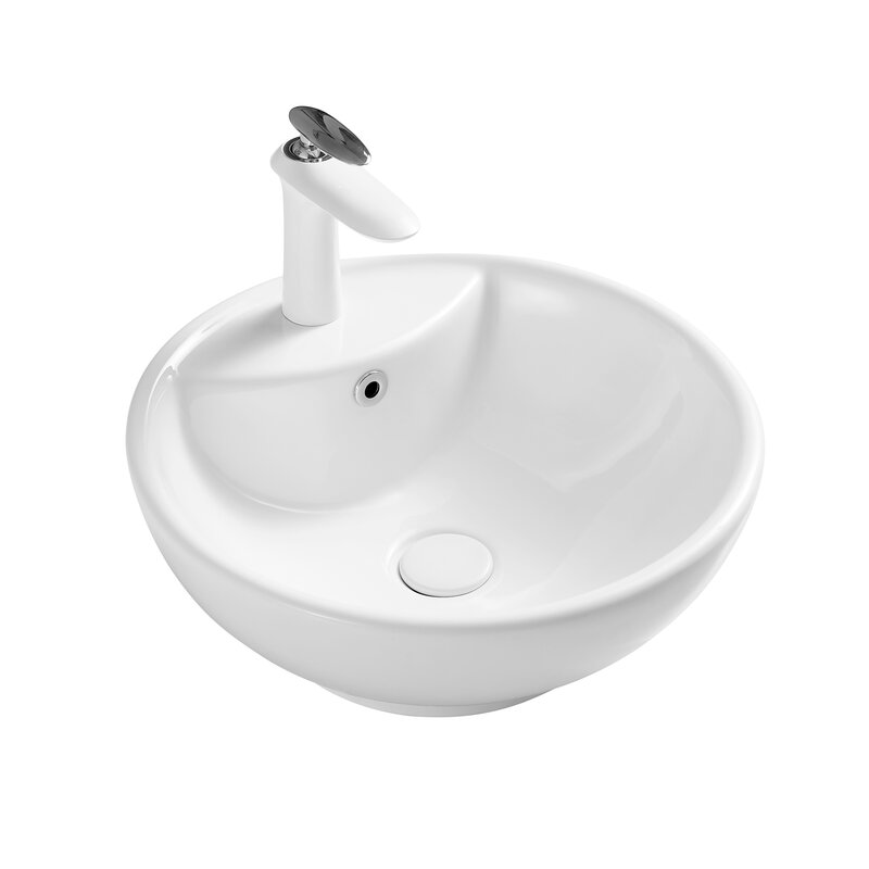 Lintoyo White Ceramic Circular Vessel Bathroom Sink With Faucet And Overflow Wayfair
