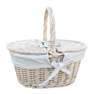 Lidded Lined Picnic Basket By Brambly Cottage