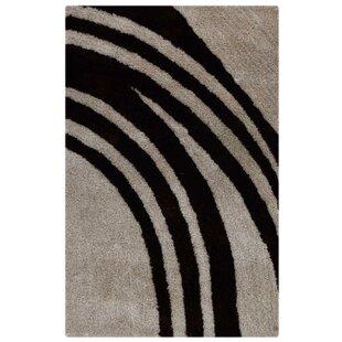 Order Mauldin Contemporary Abstract Soft Shaggy Oriental Hand-Tufted Black/Gray Area Rug ByOrren Ellis