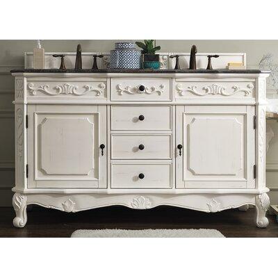 vendome 60 double white bathroom vanity set