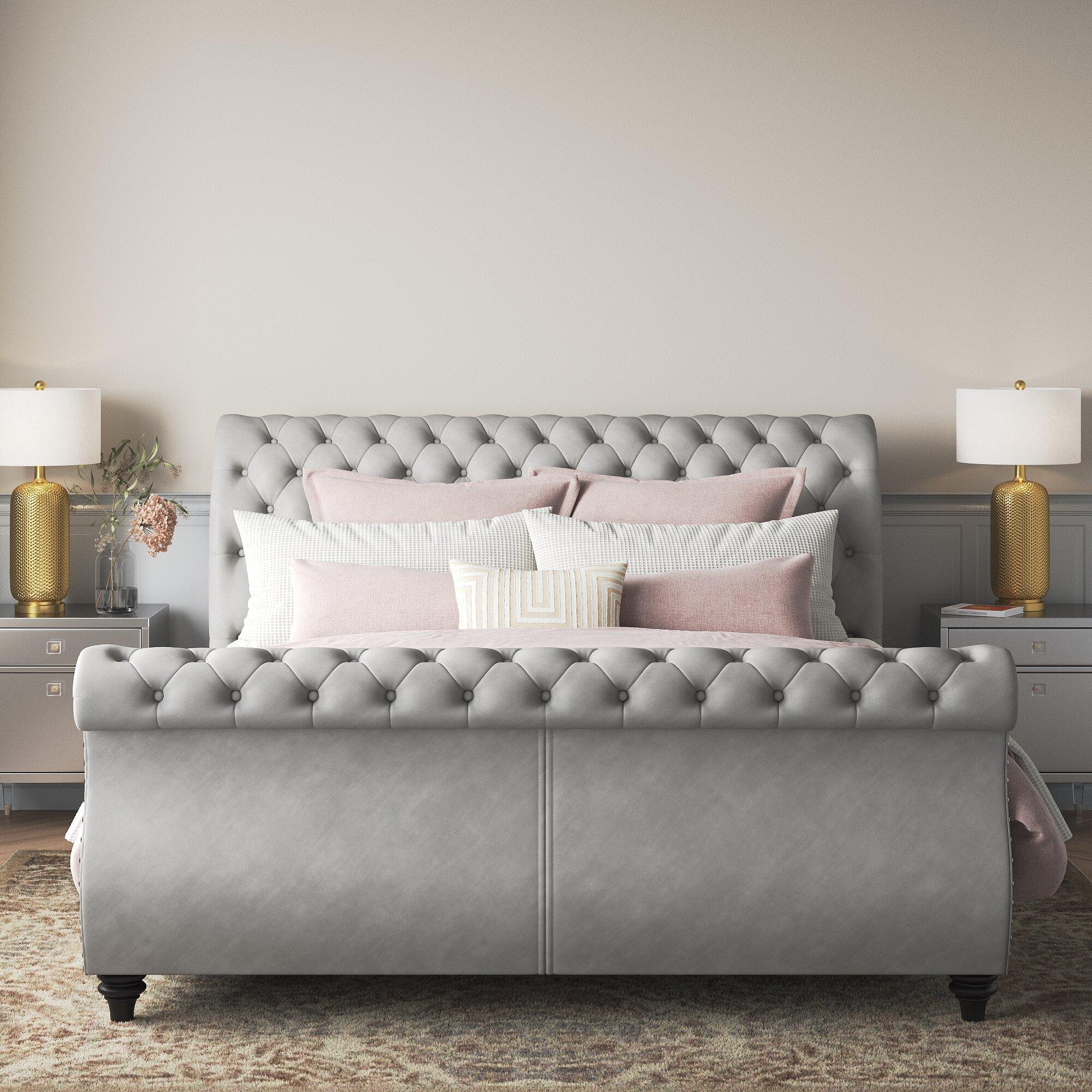 Rosdorf Park Matos Tufted Upholstered Sleigh Bed Reviews Wayfair