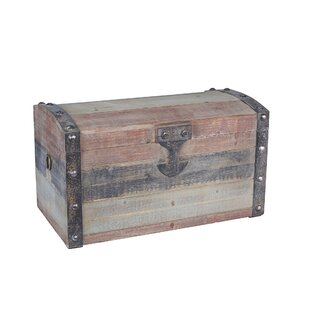 Grieco Small Weathered Wooden Storage Trunk