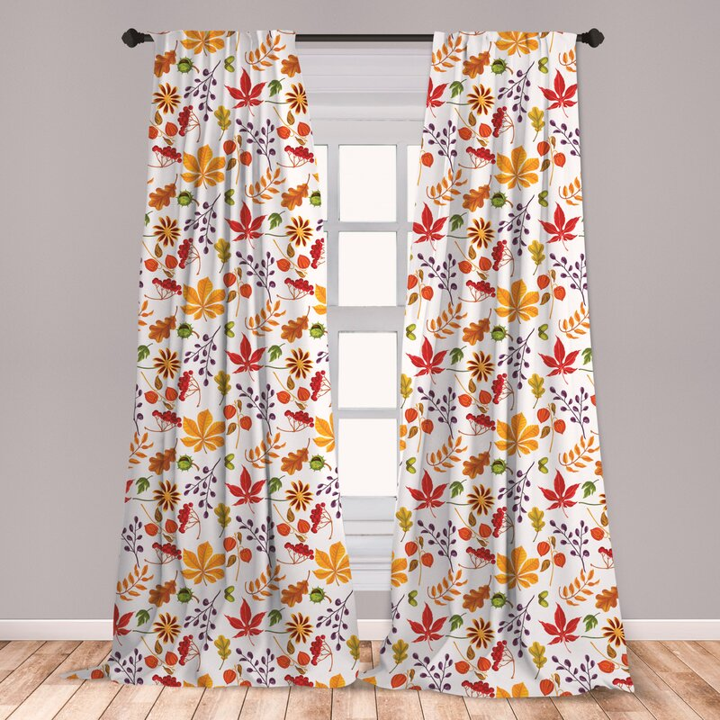 East Urban Home Fall Floral Room Darkening Rod Pocket Curtain Panels Reviews Wayfair