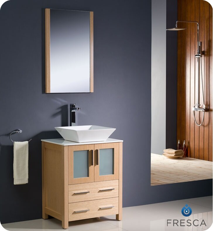 "24 Bathroom Vanity Modern fresca torino 24"" single modern bathroom vanity set with mirror"