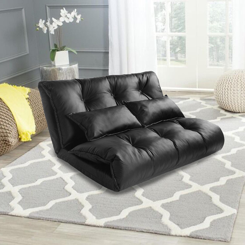 Faux Leather Cushion Back Futon