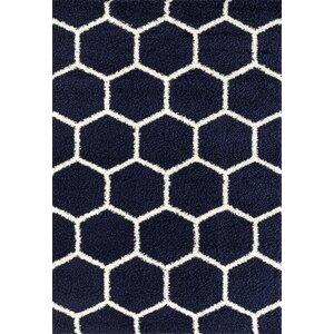 Knauss Honeycomb Shag Navy Area Rug