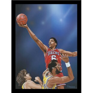 'Dr J Going to the Rim' Print Poster by Darryl Vlasak Framed Memorabilia by Buy Art For Less