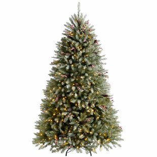 Decorated Snow 7ft Green Spruce Artificial Christmas Tree with 600 Clear/White lights with Stand