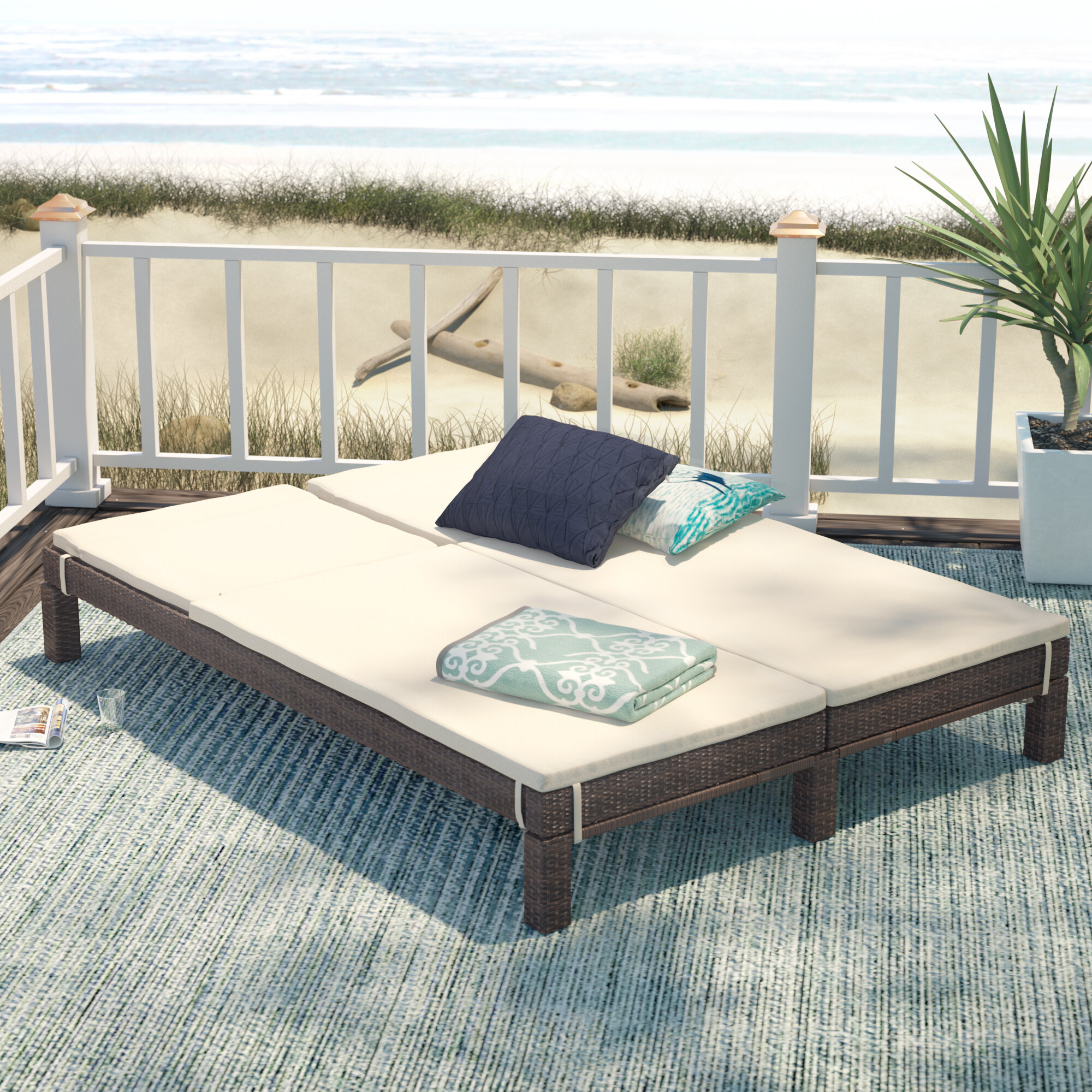 Beachcrest Home Belleview Wicker Double Reclining Chaise Lounge With Cushion Reviews Wayfair