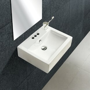 Deals Ceramic 21 Wall Mount Bathroom Sink with Overflow By Royal Purple Bath Kitchen
